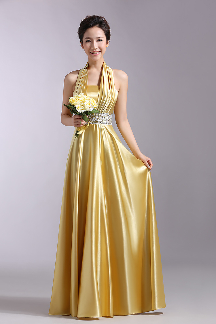 JC&STAR Evening dress 2017 Gold Halter for wedding prom dress party ...