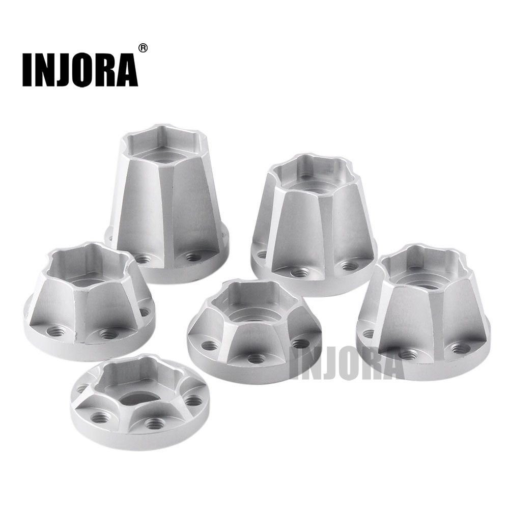 INJORA 2PCS Aluminum Alloy 12mm Wheel Hex Hub For 1/10 RC Crawler 1.9 2.2 Wheel Rim Axial SCX10 Traxxas TRX4 D90