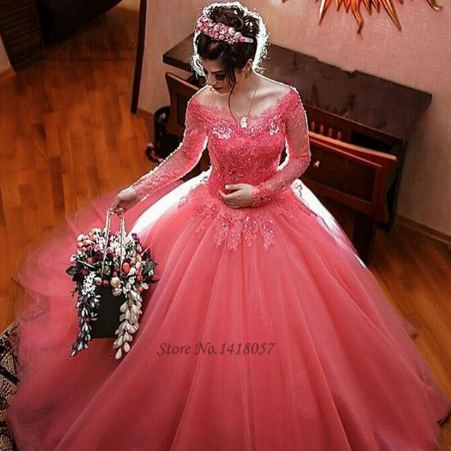 Extreem Coral Hot Pink Wedding Dress Long Sleeve Lace Wedding Gowns #IY91