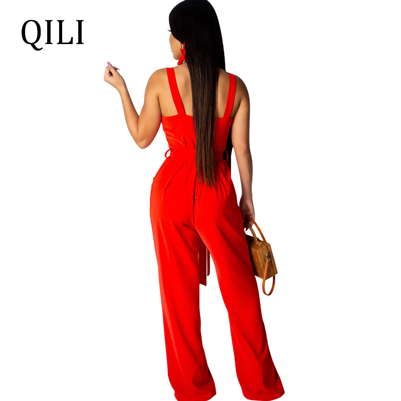 QILI Women Loose Jumpsuits Casual Overalls Tank Button Pockets With Sashes Fashion Jumpsuits Womens Boot Cut Long Pants Jumpsuit in Jumpsuits from Women 39 s Clothing