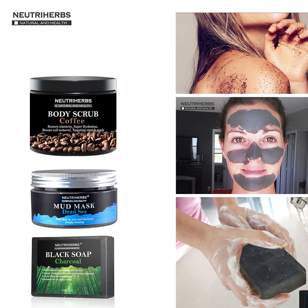Coconut Coffee Body Scrub Cream Whitening Charcoal Handmade Soap Dead Sea Mud Face Black Blackhead Remover 3 in 1 Set