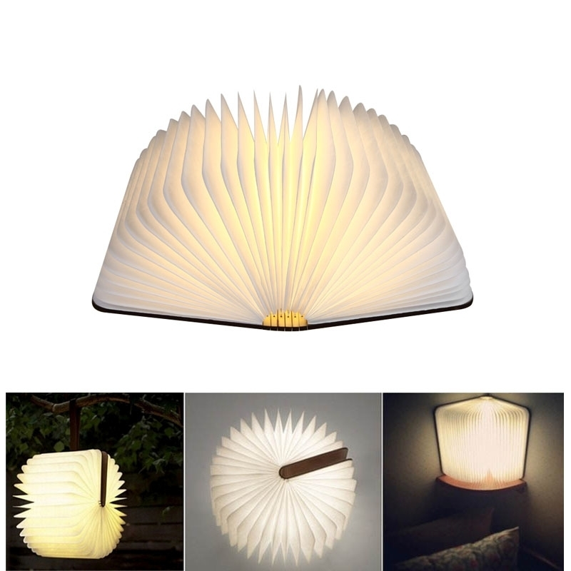 Artpad Foldable Paper Magical Book Lamp USB Rechargeable 360 Degree Rotatable Wood LED Desk Book Light Creative Birthday Gift