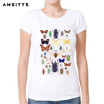 AMEITTE böcek koleksiyonu T-Shirt kadınlar/bayanlar renkli böcek/kelebek baskılı T Shirt yaz ince kadın kısa kollu Tee tops