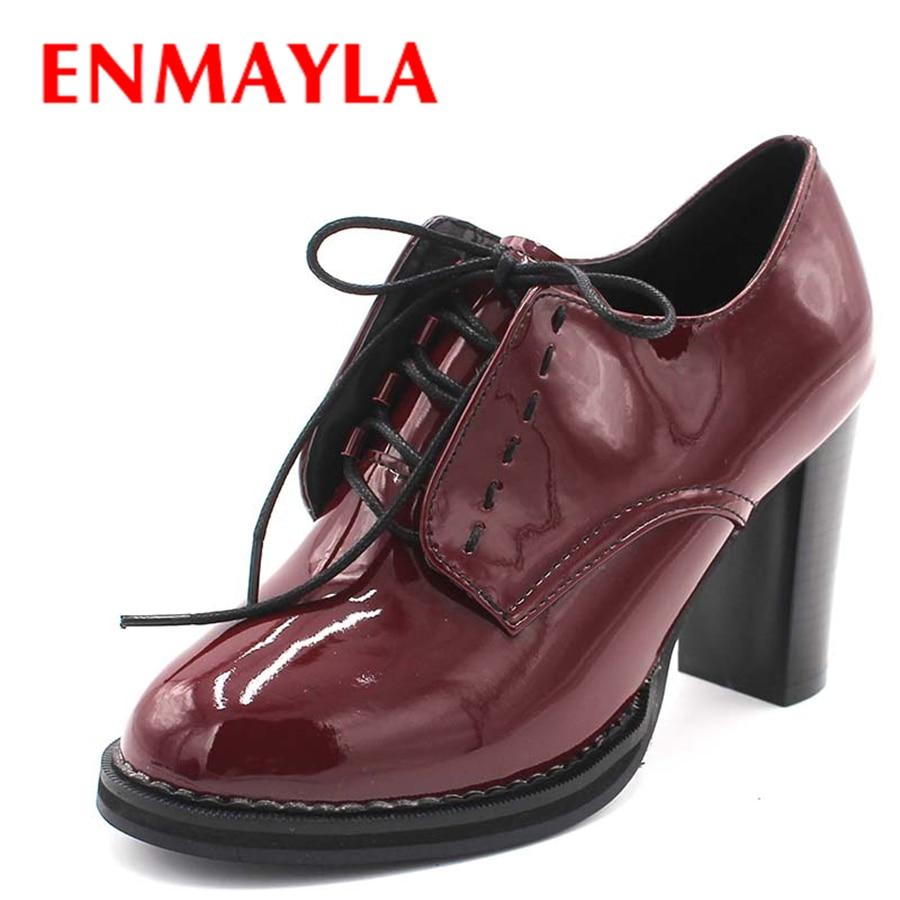 ENMAYLA modni pomlad ženski čevlji z visokimi petami gleženj čevlji s čipko-up platformo Pete ženske škornji za ženske poročne čevlje velikosti 43