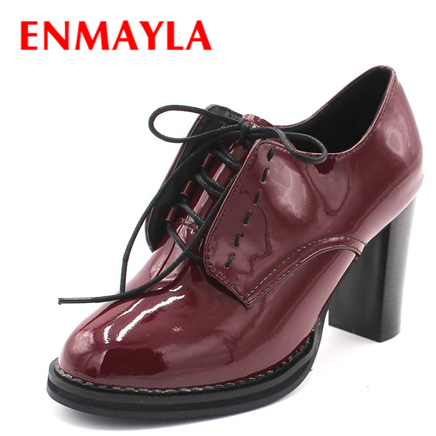 Enmayla أزياء ربيع المرأة أحذية عالية الكعب الكاحل الدانتيل متابعة منصة الكعب النساء أحذية للنساء أحذية الزفاف حجم 43