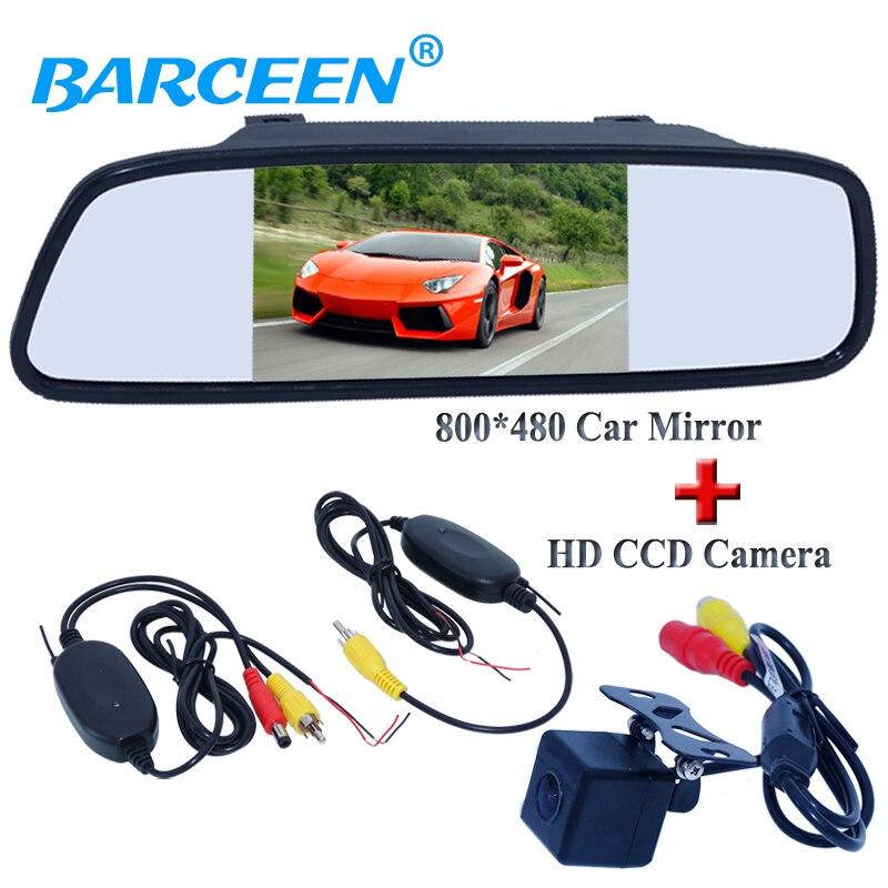 Car receiver and transmitting 5 car back up mirror monitor hd ccd image sensor car rearview
