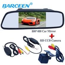 Автомобильный приемник и передачи + 5 «автомобиль обратно зеркало монитор + hd ccd датчик изображения камеры заднего вида автомобиля вписываются в типов автомобилей