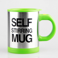 Brand Patent Stainless Steel Self Stirring Mug Food Grade PP Coffee Cup 400ml Cups Automatic Mixing