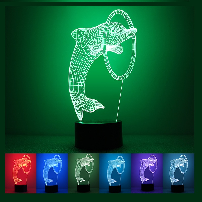 1pc  Dolphin Style Kids LED Night Light 3D LED Acrylic Colorful  USB Table Lamp Free Shipping