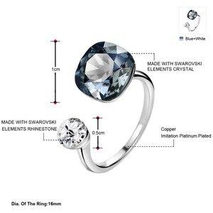 Image 2 - Neoglory crystal & rhinestone design quadrado anel de dedo cor dupla para clássico feminino embelezado com cristais de swarovski