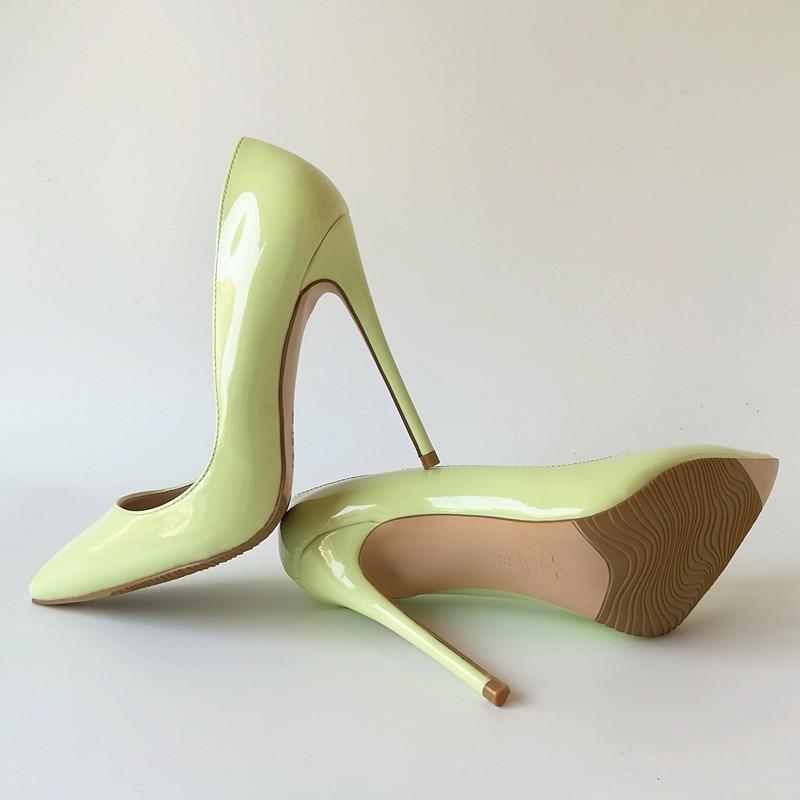 Pour Femme Verni 12cm Heel Chaussures 12 Nouveau Talons Cuir Apple Sexy Automne 10cm Partie Heel En 8cm 052 Heel Vert Femmes Pompes K Hauts Cm yvY76fgb