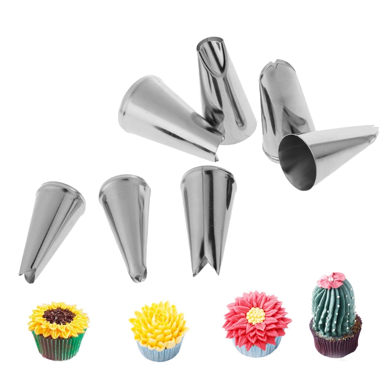 1Set/7pcs Stainless Steel Leaf Icing Cream Piping Nozzles Cake Decor Tips Baking Tool -M15