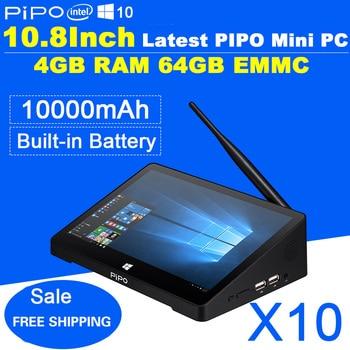IPS 1920*1280 10.8inch PIPO X10 Mini PC Windows 10 TV Box Z8300 Quad Core Mini Box 4G RAM 64G ROM HDMI Media Box Bluetooth Win10