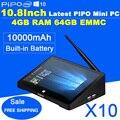 Ips 1920*1280 10.8 pulgadas pipo x10 mini pc windows 10 tv box z8300 Quad Core Mini Caja 4G RAM 64G ROM HDMI Media Box Bluetooth Win10