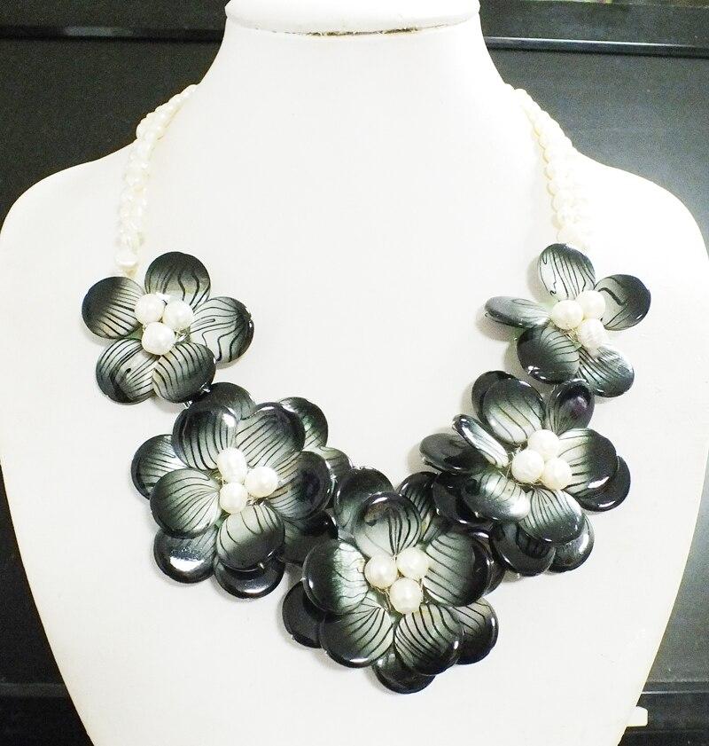 Freies Verschiffen Klassische romantische perle/shell blumen halskette-in Choker Halsketten aus Schmuck und Accessoires bei  Gruppe 1