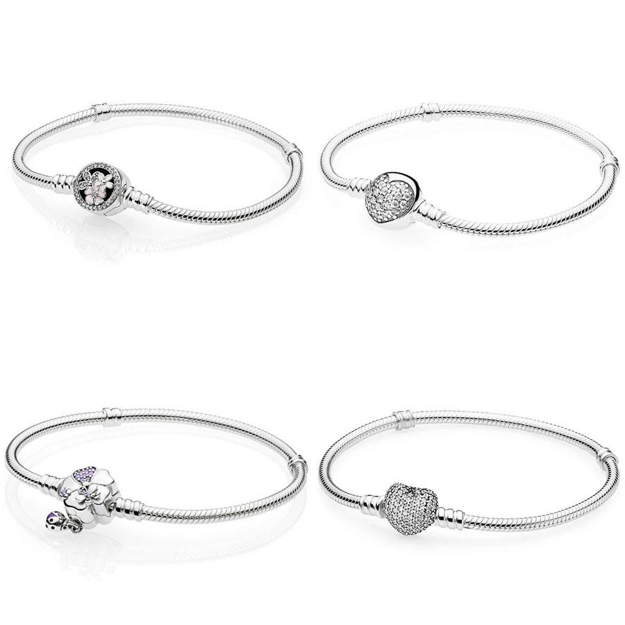 Authentic 925 Sterling Silver Bracelet Flower Love Charm Bracelet Fit Original DIY Jewelry Bangles for womenAuthentic 925 Sterling Silver Bracelet Flower Love Charm Bracelet Fit Original DIY Jewelry Bangles for women