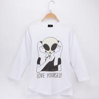 2018 New Children Clothing Kids Funny T Shirts Alien Design 100 Cotton Boy Long Sleeve Tshirt