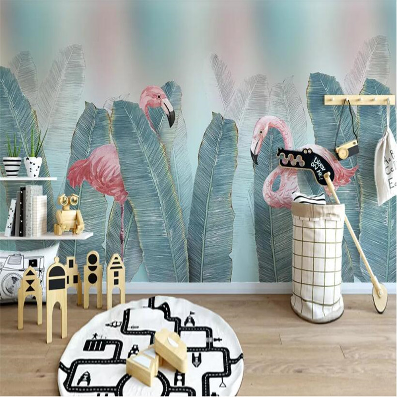 Small fresh green leaves watercolor professional production mural factory wholesale wallpaper photo wall