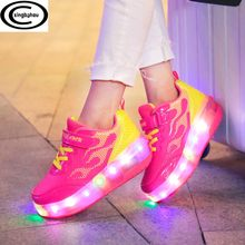 Kids Shoes with LED Lights Children Roller Skate Sneakers with Wheels glowing Led Light Up for Boys Girls Zapatillas Con Ruedas(China)