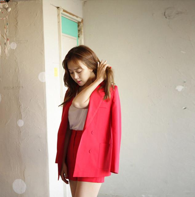 2016 Coreia Do Fashion Business Suits Para As Mulheres Novas Trespassado Uniforme Escritório Mangas Compridas Jacket e Noite Fatos de Calça Curta