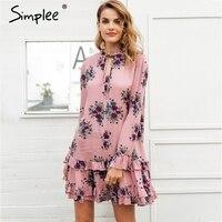 Simplee Ruffle V Neck Lace Up Print Mini Dress Women Loose Long Sleeve Short Dress 2018