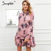 Simplee Ruffle V Neck Lace Up Print Mini Dress Women Loose Long Sleeve Short Dress 2018