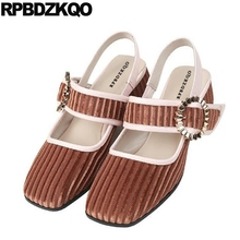 ed2224046 Sandálias grossas sapatos de salto médio brown handmade tamanho 33 bloco  sandália mary jane cinta personalizada