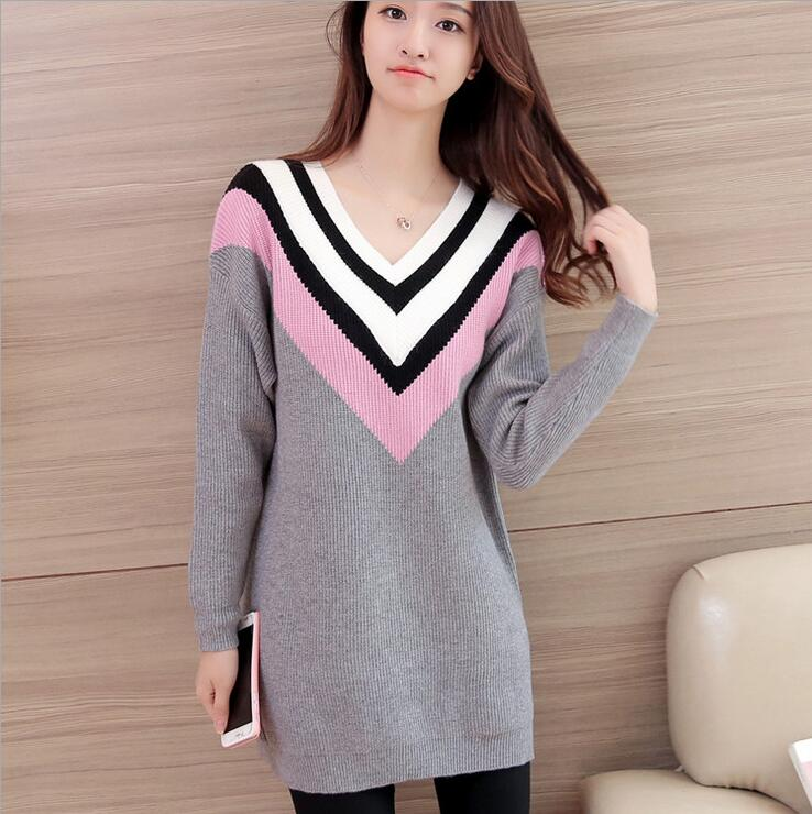 Autumn Women Sweater Striped Sweet Dress Longsleeves For Girl V-Neck Korean Style Straight Loose Casual Jacquard Clothing RL07