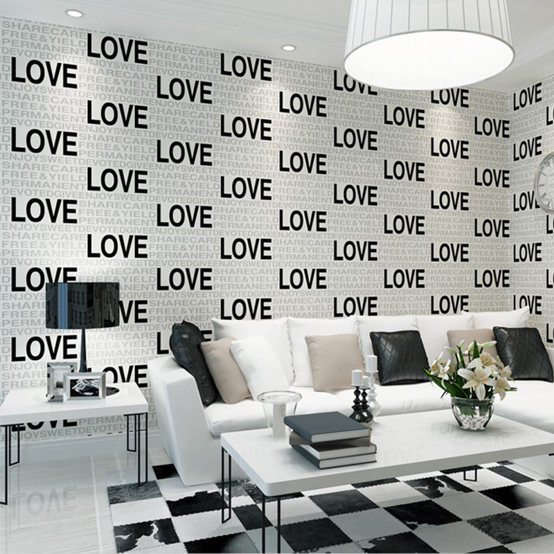 Modern English Alphabet Wallpaper 3D Flocking Non Woven Wall Paper For Living Room TV Sofa Background Home Decor Wallpapers