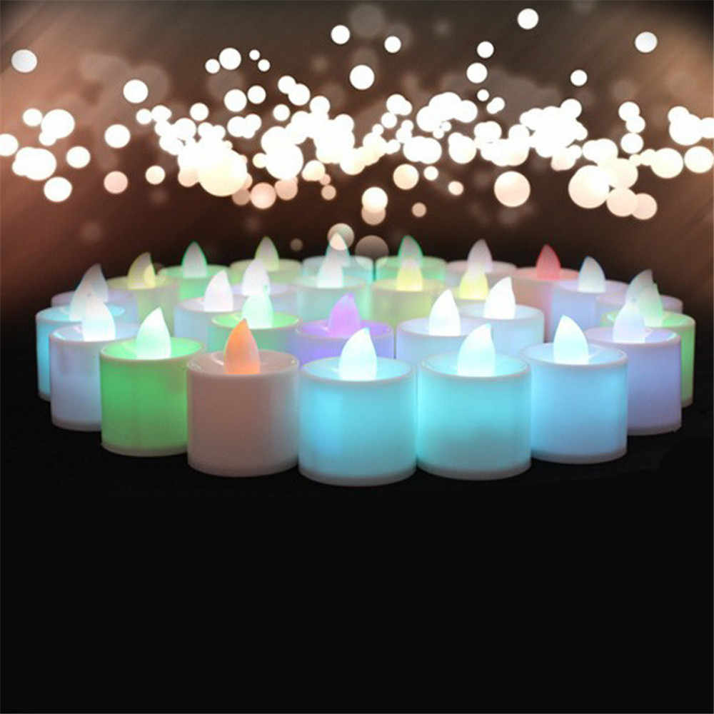 Electronic Candle LED Tea Light Battery Powered Lamp Simulation Flame Flashing Home Wedding Birthday Party Decoration Candles