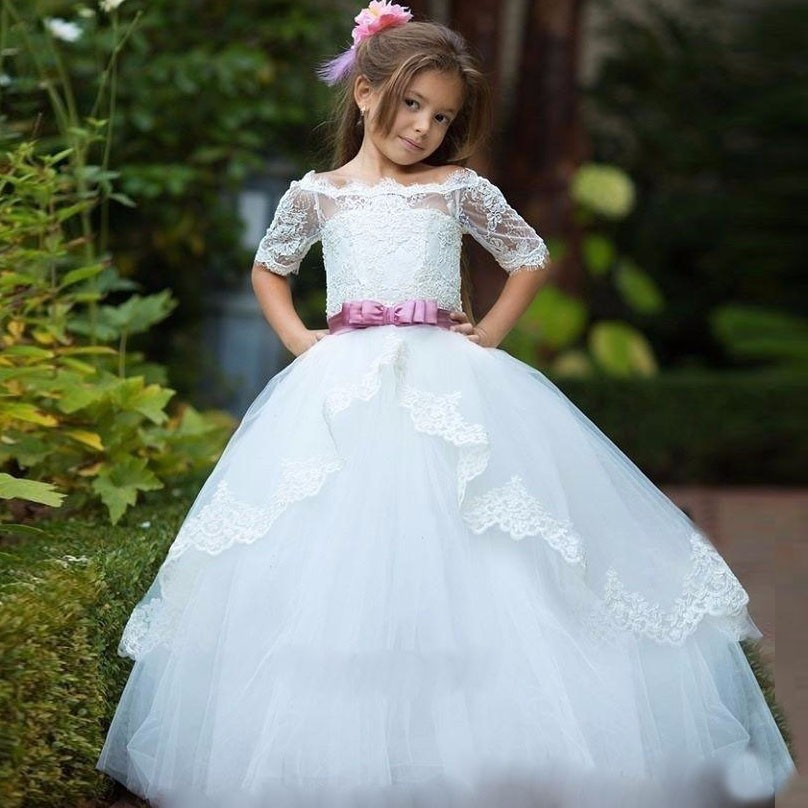 Ball Gown First Communion Dresses for Girls Lace Flower Girl Gresses for Weddings Ankle-Length Tulle  Mother Daughter Dresses new spring pretty flower girls dresses tulle communion gown ball gown mother daughter dresses lace holy communion dresses