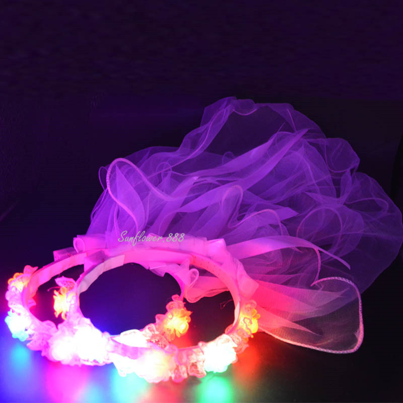 2018 Princess Women Bridal Flashing Flower Hairband Veil Headband Light-Up Garland Valentines Day Glow Party Christmas New Year