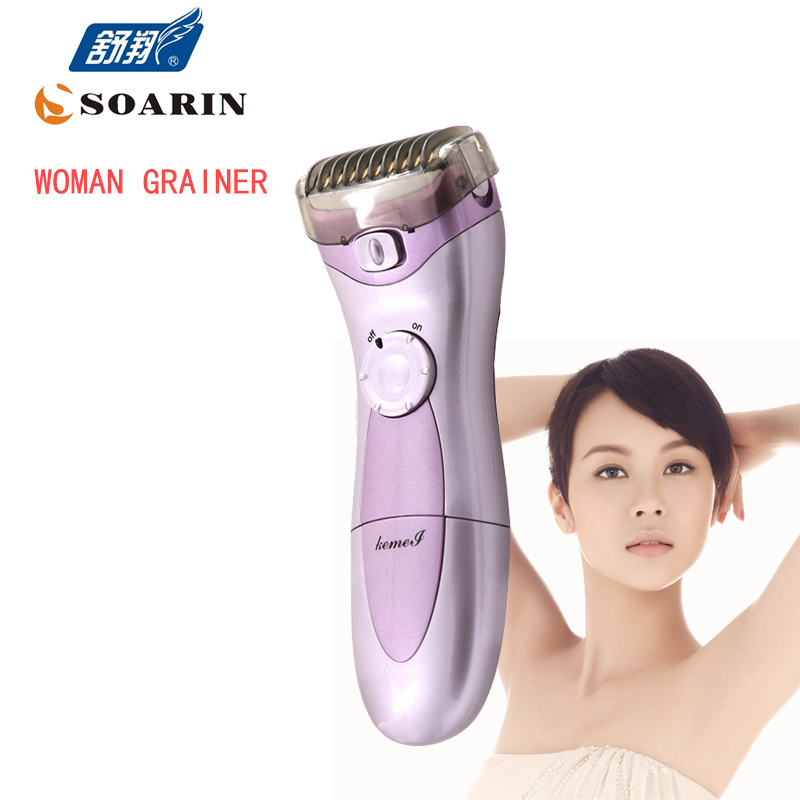 KEMEI Dry Batteries Purple Epilator Women Hair Removal Electric Lady Shaver Trimmer For Women  Depilatory For All Body Bikinis kemei titanium blade electric lady wet dry shaver washable body hair trimmer removal epilator for bikini face underarm p00