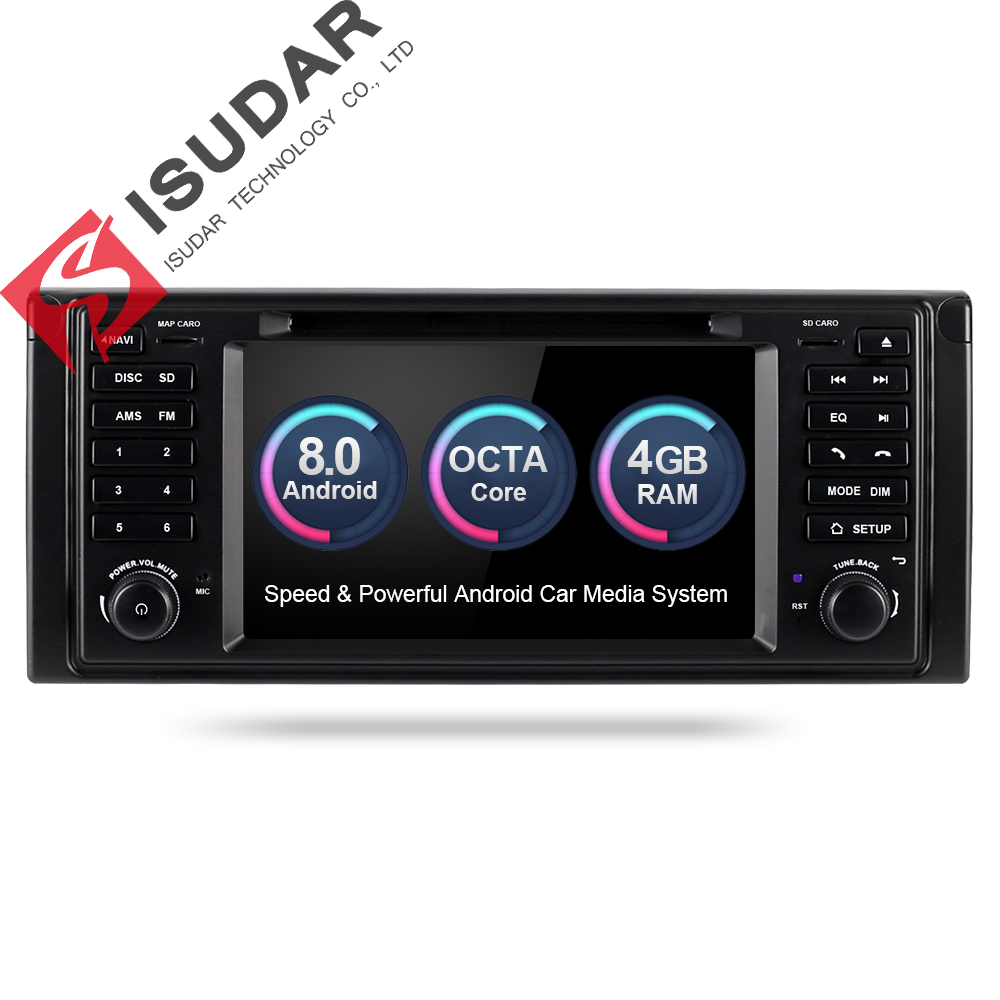 Isudar Reprodutor multimídia Carro Android 8.0 GPS Sistema De Som Para BMW/E39/X5/E53 3g 4g Wi-fi FM AM Radio canbus DSP dvd automotivo