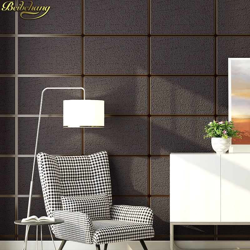 beibehang Simple deerskin square lattice Modern Stacked 3d stone wallpaper roll TV background wall paper for living room bedroom
