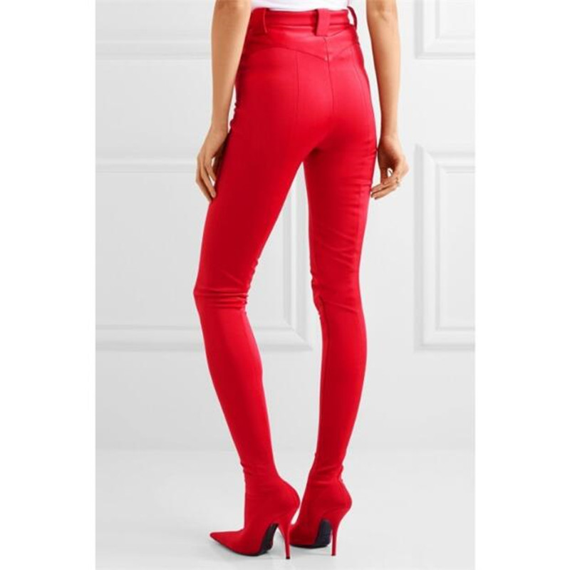 as Estrecha Show Tacón Show Moda Stilettos Diseño Alto Calcetín Punta Talón Mujer Altos Del Cargadores De Rojos Elástico Cintura Pantalones As Sexy Muslo 2018 Bootcuts Zapatos vSwCgqx