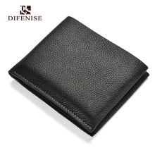 Difenise new Design Short Men's short wallets England style luxury The first layer vegetable tanning cowhide Genuine Leather