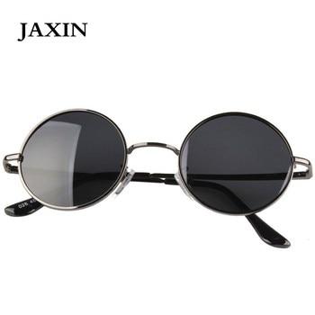 JAXIN Retro Polarized Round Sunglasses Men Black classic Sun Glasses Women brand design travel metal frame goggles UV400 okulary
