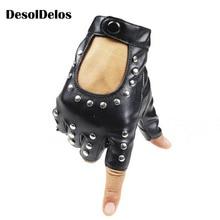 DesolDelos Women Rivets PU Leather Gloves Semi-Finger Mens Rivet Belt Sexy Cutout Fingerless R007
