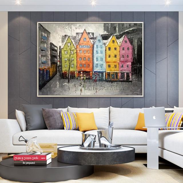 Toile peinture abstraite paysage urbain peinture acrylique mur art photos pour salon décor à la maison quadros caudros decoracion7