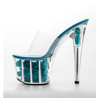 Ultra forme De bleu Cristal Talon Fleurs or gris Sandales Beige marron Hauts Mince Chaussons Cm Ciel Talons 17 Femmes Plate noir Chaussures clair Pour Femme Pantoufles Transparent pu Z0dZaq