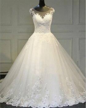 Wedding Dress 2019 New Fashion Small Round Neck Trailing Bride Wedding Dress Shoulder Lace Slim Bridal Dresses Wedding Dresses
