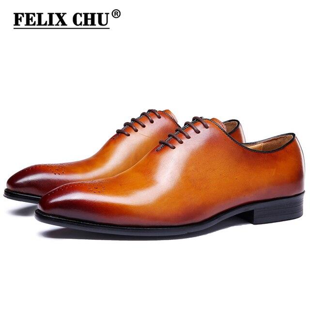 Феликс Чу бренд Классический Натуральная кожа Для мужчин всего разреза плотная оксфорды на шнуровке Свадебная вечеринка человек коричневый Туфли под платье Brogue резные