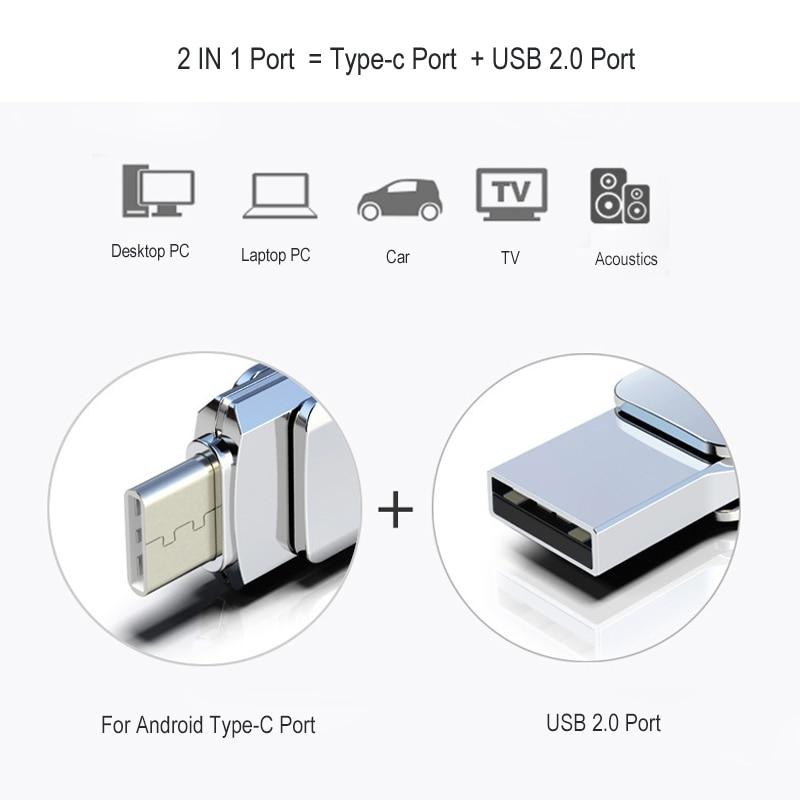 360 Rotation Pendrive OTG Type C 32GB 16GB 128GB USB Flash Drive Type C For Smart Phone Tablet 64GB Pen Drive For Android Phone in USB Flash Drives from Computer Office