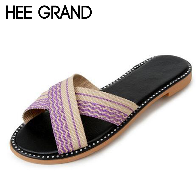 HEE GRAND 2018 New arrive Womens Slides Woman Solid Easy go Outdoor&Indoor Slippers Women Slip-on Causal Shoes 35-40 XWT1055