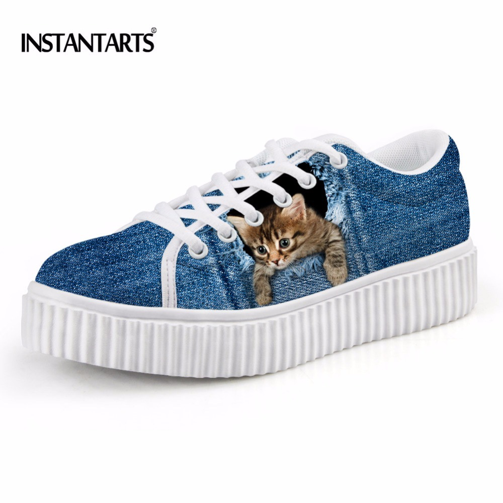 US $30 79 OFF Instantarts Wanita Fashion Renda UP Sepatu Datar Bernapas Biru Denim Hewan Lucu Kucing Anjing Anjing Cetak Creepers Kasual Platform
