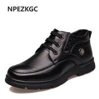 NPEZKGC Plus Size 38 48 Men Winter Boots With Fur Keep Warm Genuine Leather Men Boots