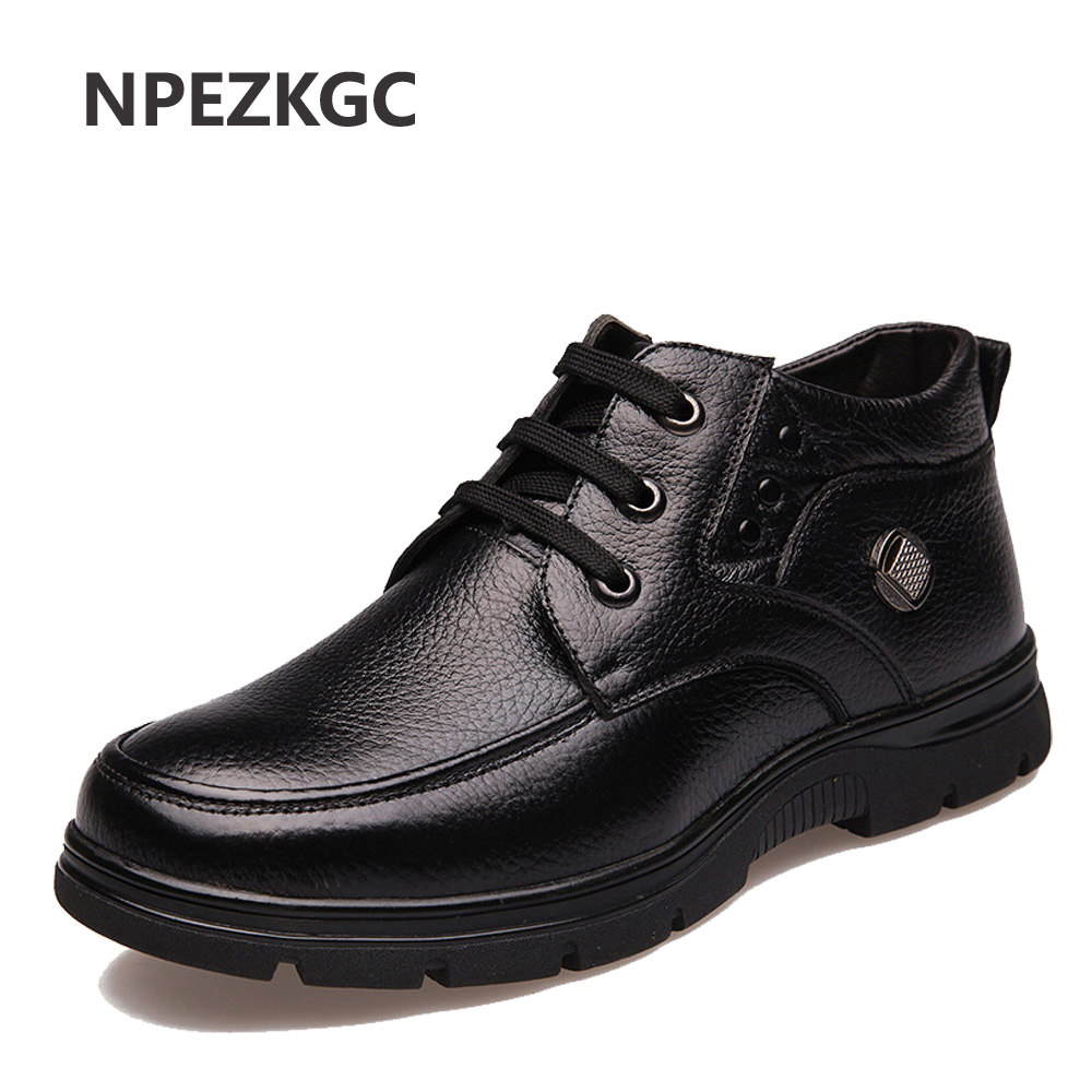 NPEZKGC Plus Size 38-48 Men Winter Boots With Fur Keep Warm Genuine Leather Men Boots Platform Snow Boots Waterproof Ankle boots mvvt super warm winter men boots snow boots with fur keep warm platform men winter snow shoes waterproof ankle boots