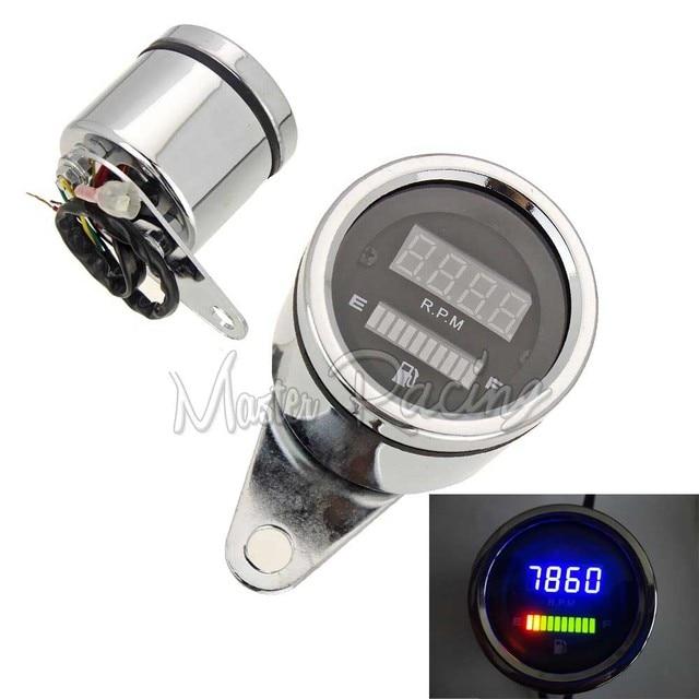 Universal 12v Motorcycle LED Digital Tachometer + Fuel Level Meter Gauge Instruments Scooter ATV Bike Mopes Cafe Racer