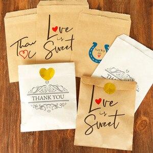 Image 3 - 25 adet teşekkür ederim Kraft kağıt torba renkli Polka nokta çizgili Chevron kağıt hediye çantası düğün şeker torbaları doğum günü hediyesi ambalaj